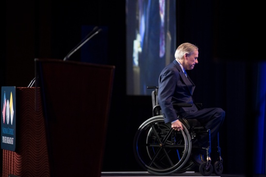 Texas Gov. Greg Abbott leaves the podium after speaking at the 11th annual National Catholic Prayer Breakfast May 7 in Washington. (CNS/Tyler Orsburn)