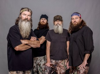 "This 2012 photo released by A&E shows, from left, Phil Robertson, Jase Robertson, Si Robertson and Willie Robertson from the A&E series, ""Duck Dynasty."" The A&E channel says ""Duck Dynasty"" patriarch Phil Robertson is off the show indefinitely after condemning gays as sinners in a magazine interview. In a statement Wednesday, Dec. 18, 2013, A&E said it was extremely disappointed to read Robertson's comments in GQ magazine. (AP Photo/A&E, Zach Dilgard)"