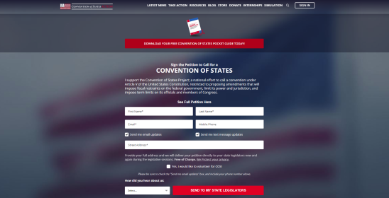 Official Convention of States website petition